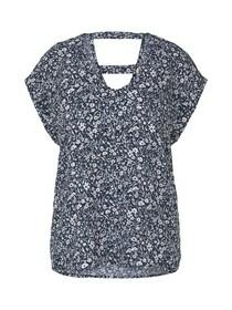 printed v-neck blouse