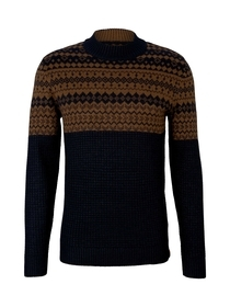 jacquard structure mix sweater