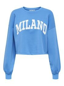 Cropped Pullover mit Textprint