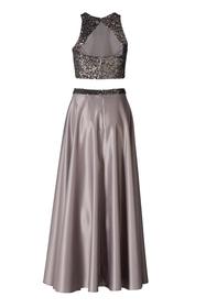 Zweiteiliges Kleid - Satin / Mesh Pailette