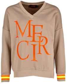 """Sweater """"Merci"""" mit V-Neck"""