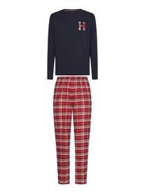 Schottenkaro-Pyjama und -Hausschuhe im Set