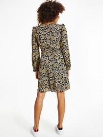 Blumen-Kleid aus Viskose-Krepp