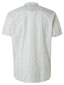 All Over Printed Modern Fit Granddad Collar Short Sleeve Shirt