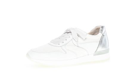 Sneaker low Materialmix Leder/Lederimitat beige