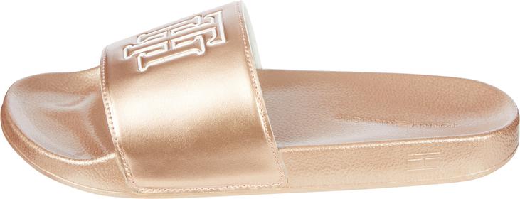 Metallic-Badeschuh mit TH-Monogramm