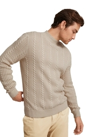cable structure mix sweater