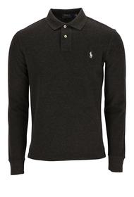 Slim-Fit Langarm-Polohemd aus Piqué