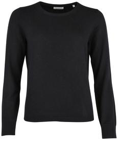 Feinstrick-Rundhals-Pullover aus softem Wolle-Viskose-Kaschmir-Mix
