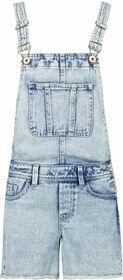 Jeans-Latzshorts mit ausgefransten Hosenbeinen